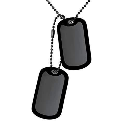 Custom4U Anhänger im Armee Stil mit Silikon Hundemarke Dog Tag X2 Herren Halskette, Motorradfahrer Schwarze Kugelkette Kette 60cm