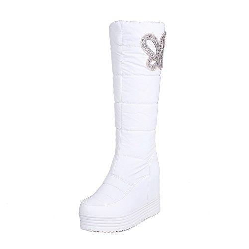 AllhqFashion Damen Niedriger Absatz Blend-Materialien Mittler Kalb Ziehen auf Stiefel, Weiß, 39