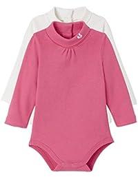 VERTBAUDET Lote de 2 bodies de cuello alto bebé Blanco lunares rosa/fucsia 18M-81CM