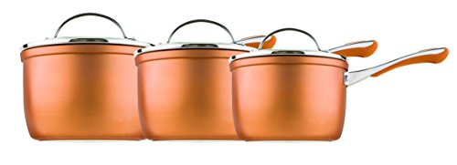 Prestige Prism 14cm, 16cm and 18cm saucepan set, Aluminium, Copper, 3 piece set