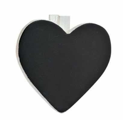 Coeur décoratif avec attache, Set de 6, Blanc