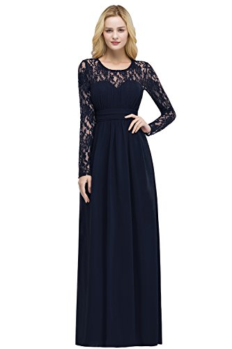 Damen Elegant A-Linie Chiffon Brautjungfernkleid Spitze Brautkleid Lang Navy Blau 46
