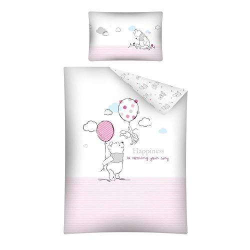 aby Bettwäsche Set mit Wende Motiv: Winnie Pooh - 100x135 cm + 40x60 cm + 1 Spannbettlaken 70x140 cm (rosa) ()