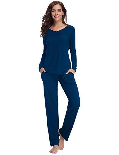 Abollria Schlafanzug Damen Pyjama Set Baumwolle Lang Mädchen Langarm Hausanzug Sleepwear öko Freizeitanzug Hausanzug Anzug V Aussschnitt mit Gepunkte Hose (Blau-95% Baumwolle, M)
