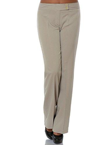 Damen Business Hose Stoffhose Straight Leg (Gerades Bein) No 15709, Farbe:Beige, Größe:S / 36 (Ein-knopf-falten-anzug)
