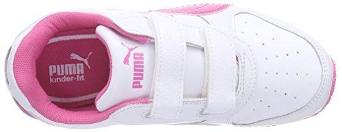 Puma Fieldsprint L V KIDS Unisex-Kinder Sneakers Weiß (white-carmine rose 23)