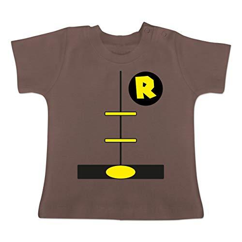 Karneval und Fasching Baby - Superheld Kostüm Kind - 1-3 Monate - Braun - BZ02 - Baby T-Shirt Kurzarm