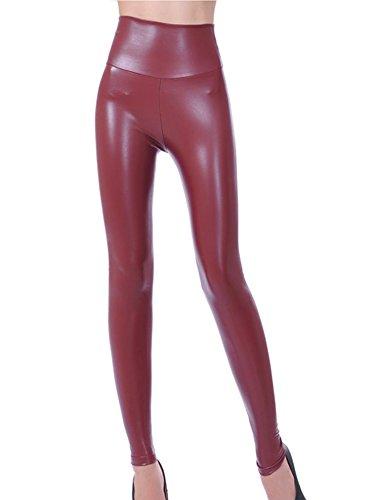 Gladiolus Mujeres PU Cuero Leggings Skinny Elásticos Treggings...