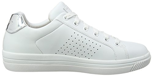 Skechers Street Sweet-Step On IT, Sneaker Donna Bianco (White Leather/sivler Durapatent Leather Trim)