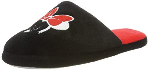 Damen Disney Hausschuh Pantolette Minnie Mouse Universalgröße 39 bis 42 Schwarz/Rot