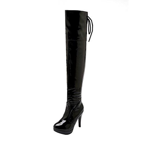 Stiletto Fell Stiefel (UH Damen Lack Overknee Stiefel High Heels Stiletto Boots mit Schnürung und Fell Herbst Winter Elegante Schuhe)