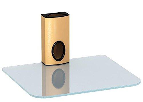 DVD Wandhalterung, DVD Wandhalterung und Sky Box Wandhalterung, Floating Single Ablage Glas klar und Gold Spalte -
