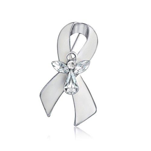 Bling Jewelry Weiß Bandschleife Lungenkrebs Survivor Schutzengel Kristall Broschen & Anstecknadeln Für Damen Emaille Versilbert (Schutzengel-pin)