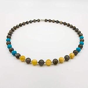 Design Labradorit Edelsteinkette mit türkis und gelb – Kettenlänge 48 cm – Katja Hintzenstern inspiriert