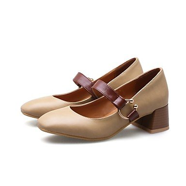 RTRY Donna Di Talloni Di Base Molla Pompa Di Caduta Similpelle Office &Amp; Carriera Dress Chunky Heel Mandorla Arrossendo Rosa Nero 2A-2 3/4In US6 / EU36 / UK4 / CN36