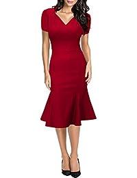 Miusol® Damen Sommerkleid V-Ausschnitt Kurzarm 1950er Retro Fishtail Büro Cocktail Kleid Schwarz/Rot/Blau EU 36-46