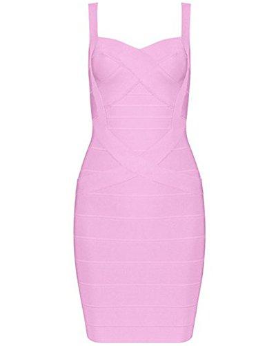 Whoinshop Frauen Rayon Nettes Ärmellos Bodycon Abendkleid Sommerkleid Verbandkleid Rosa XS