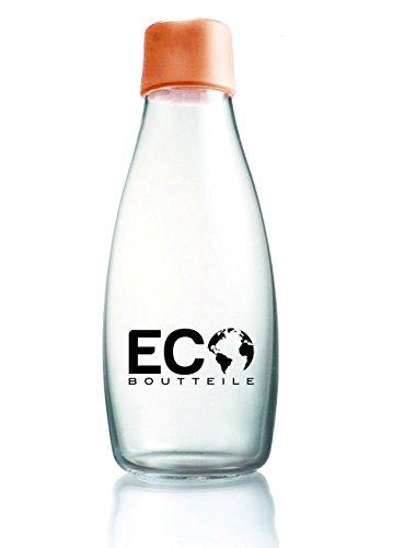 ECOBoutteile Glas Trinkflasche 2GO - Wasserflasche für unterwegs - Sportflasche & Getränkeflasche - Ideal für Smoothie & Fitness - BPA-Frei (tangerine orange, 532)