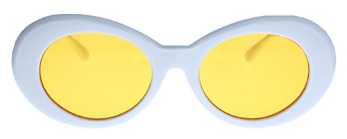 Ovale Katzenaugen Retro Sonnenbrille für Damen dicker Rahmen im 50er 60er Jahre Cat Eye Stil Vintage Rockabilly KU19 (Weiss/Amber)