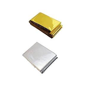 REOOHOUSE Folie Notfall- / Überlebensdecke 2er Pack Gold & Silber 210 * 130 cm
