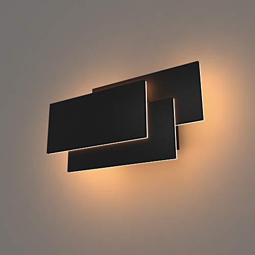 K-Bright Wandlampe,24W LED Wandleuchten,Aluminium Modern Design Lampe, Wandstrahler Effektlampe Licht warmweiß,Schwarz, Rectangle,Black Shell,Warm White -