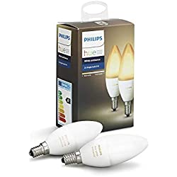 Philips Hue White Ambiance - Pack de 2 bombillas LED E14, 6 W, iluminación inteligente, tonos de luz blanca cálida y fría regulable, compatible con Amazon Alexa, Apple HomeKit y Google Assistant