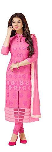 Blissta Women's Pink Cotton Unstitched Embroidered Churidar Salwar Suit Dress material