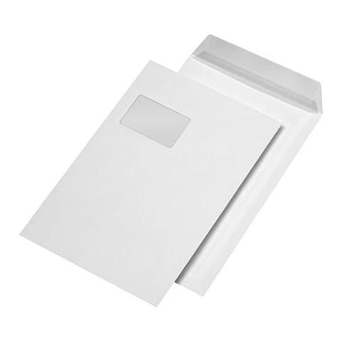 25 Stk. Versandtaschen C4 weiß, mit Fenster, selbstklebend (229 x 324 mm)