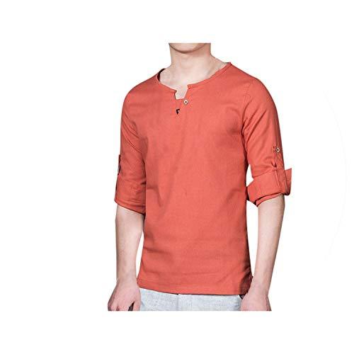 2019 Sommer-Mode Für Männer-T-Shirt Der Neuen Beiläufigen Short Sleeved Baumwollleinenbluse Top T, Orange, XXL