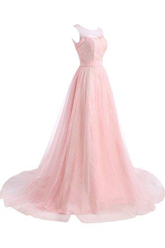 Gorgeous Bride Beliebt Rundkragen Schnürung A-Linie Schleppe Abendmode 2017 Damen Abendkleider Ballkleider Lang Cocktailkleider Rosa