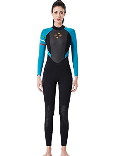 YuanDiann Femme 3mm Neoprene Combinaison De Plongée Stretch Épaissir Intégrale Chaud Tenue De Plongee sous Marine Une Pièce Surf Natation Triathlon Snorkeling Sport Nautique Vetement Bleu Noir S