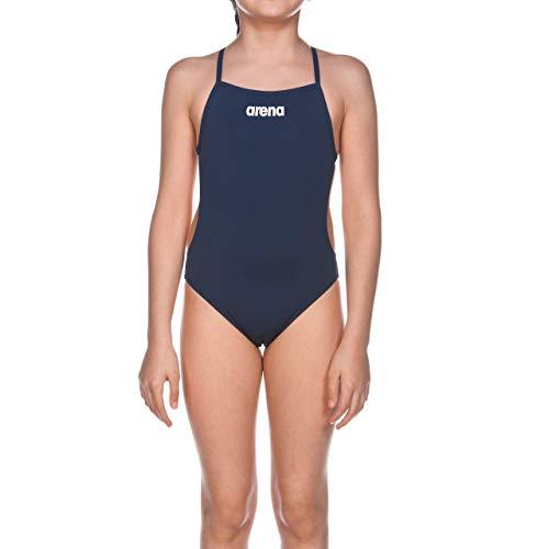 arena Mädchen Trainings Badeanzug Solid Lighttech (Schnelltrocknend, UV-Schutz UPF 50+, Chlorresistent), blau (Navy-White), 152