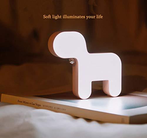 Kinder-mode Booten (Nachtlicht Tischlampe Led Tischlampe Nachttischlampe Schlafzimmer Wohnzimmer Kinder Nachtlicht Schlafzimmer Kind Baby Maskottchen Glocke Hund Mode einfache Dekoration Timing (weiß) (white))