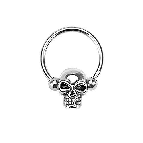 Paula & Fritz® Curved Barbell Ring Brust-Piercing Nippel-Piercing Augenbraue-npiercing Toten-Kopf Edelstahl Chirurgenstahl 316L HSC01_1412