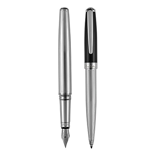 PIERRE CARDIN Set aus Dreh-Kugelschreiber und Füller Schreib-Set Metall-Kulli ballpoint pen mit Füll-federhalter CHRISTOPHE Set KS FF