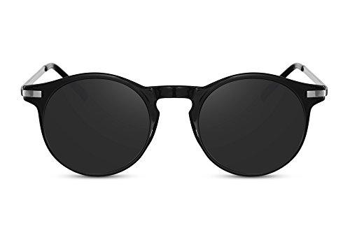 Cheapass Sonnenbrille Schwarz Runde Gläser Grau Metall UV400 Unisex