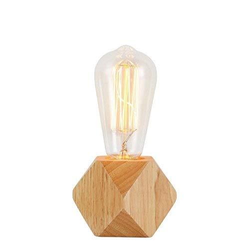 Dcqao Mini Holz Dekoration Tischleuchten Retro Holzsockel Schreibtisch Lampen Wohnzimmer Bücherregal Tischlampen for Schlafzimmer, Wohnzimmer, Babyzimmer, Studentenwohnheim - Schwarz Poliert-schreibtisch-lampe