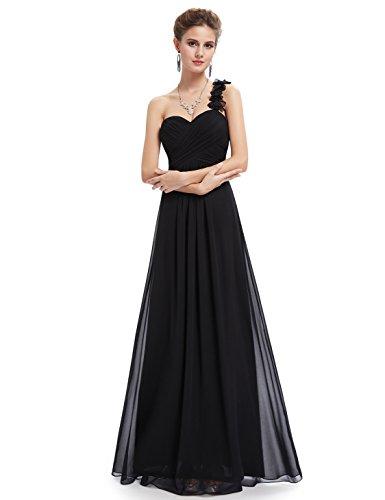 Ever Pretty Damen Blumen One Shoulder Chiffon Maxi Abendkleider 09768 Schwarz
