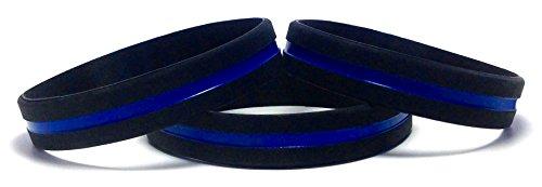 3Stück dünn blau Line Gummi Armband Silikon Armband zu unterstützen Gesetzeshüter