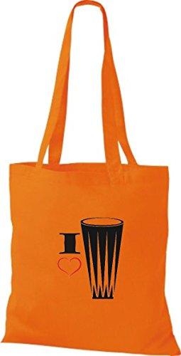Shirtstown Stoffbeutel Musik I love Gonga Handtrommel Orange
