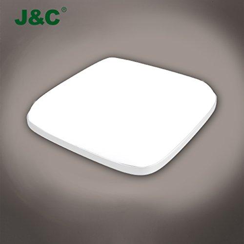 J&C® Deckenleucht 24W LED Beleuchtung Rechteck 280*280MM 2050LM Badlampe IP54 Wasserdicht 4000K natureweiss PC-Lampenschirm Nassraumleuchte für Badezimmer weiß