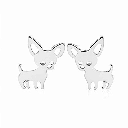 LORSOUL Frauen Chihuahua Ohrringe Weiblichen Hund Ohr Ohrstecker