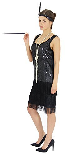 Foxxeo 40204 | 20er Jahre Damen Kleid Charleston Kostüm Mafia 20s Flapper schwarz, Größe:L