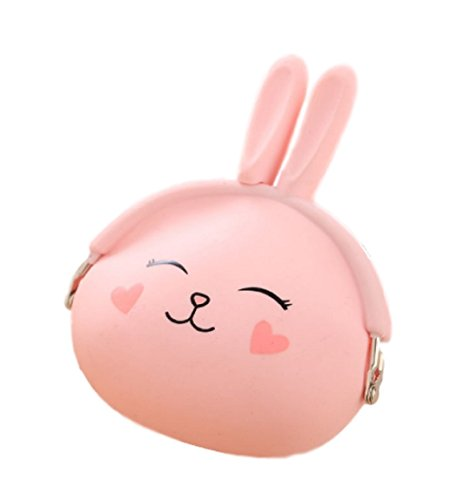 Niedliche Aufbewahrungstasche (Geldbeutel / Geldbörse / Münzbeutel / Schlüsseletui / Kopfhörer Box) aus weichem Silikon mit süßem Häschenmotiv (Kawaii Comic Stil) für Kinder (Rosa)