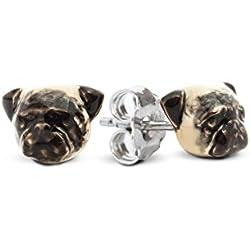 Pendientes plata esmaltado 925%–Perro Pug Carlino–Dog Fever
