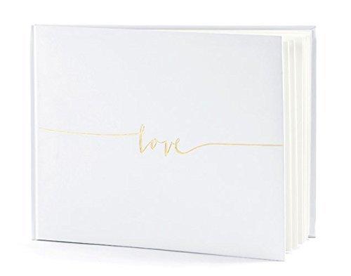 Gästebuch Hochzeit Hochzeitsgästebuch Fotoalbum Hochzeitsalbum Hochzeitsbuch weiß + Love goldfarbene Schriftverzierung von Haus der Herzen ®