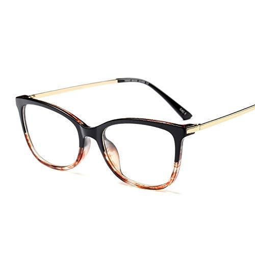 Schwarzer ultraleichter Vintage Brillenrahmen mit klarem LensMen und Damen Brille (Farbe : Black/Amber)