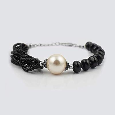 Bracelet en perles de spinelle noires avec des conclusions en argent Sterling, bijoux de pierres précieuses 6.50 pouces