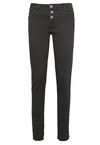 Sublevel Damen Stretch Twill-Hose | Leichte 5-Pocket Stoffhose in Grau & Beige Dark-Grey XS