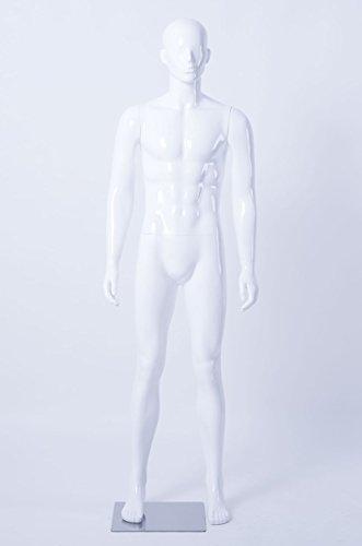 Eurotondisplay HX-LM1 Hochwertig Männlich Mann Maskulin schöne Abstrakte Weiß lackierte Schaufensterpuppe in Glanz Nase und Mund Geformt (Mann, LM1-B)